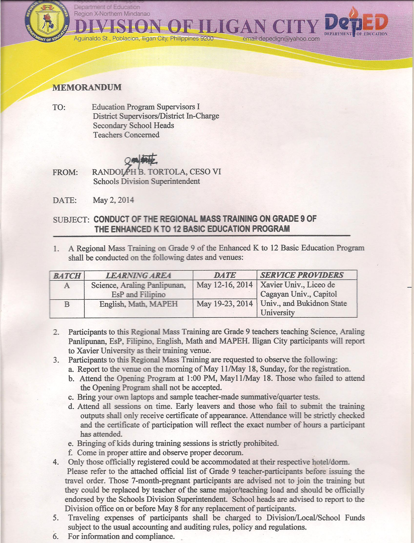 memo may 2 2014 conduct of the regional mass training on grade 9 of the enhanced k to 12 basic education program